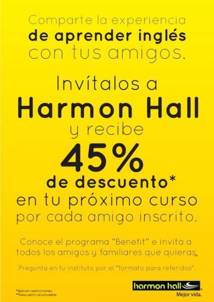 Harmon Hall: 45% de descuento por cada amigo que recomiendes