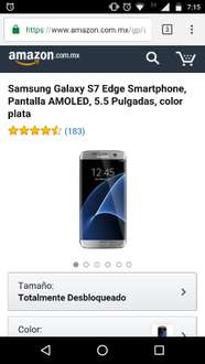 Amazon México: Galaxy S7 edge plata $12,225 hasta 12msi