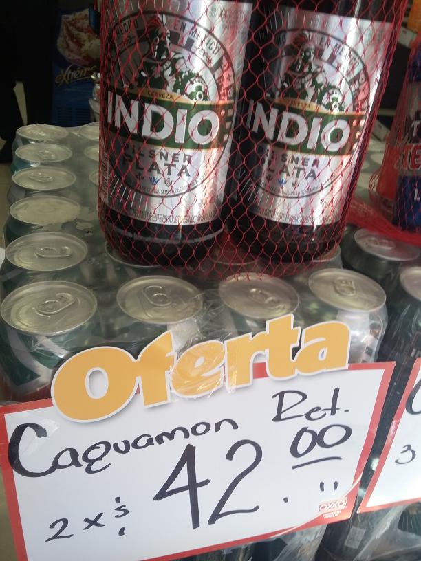 Oxxo Tultepec: 2 Caguamon Indio por $42