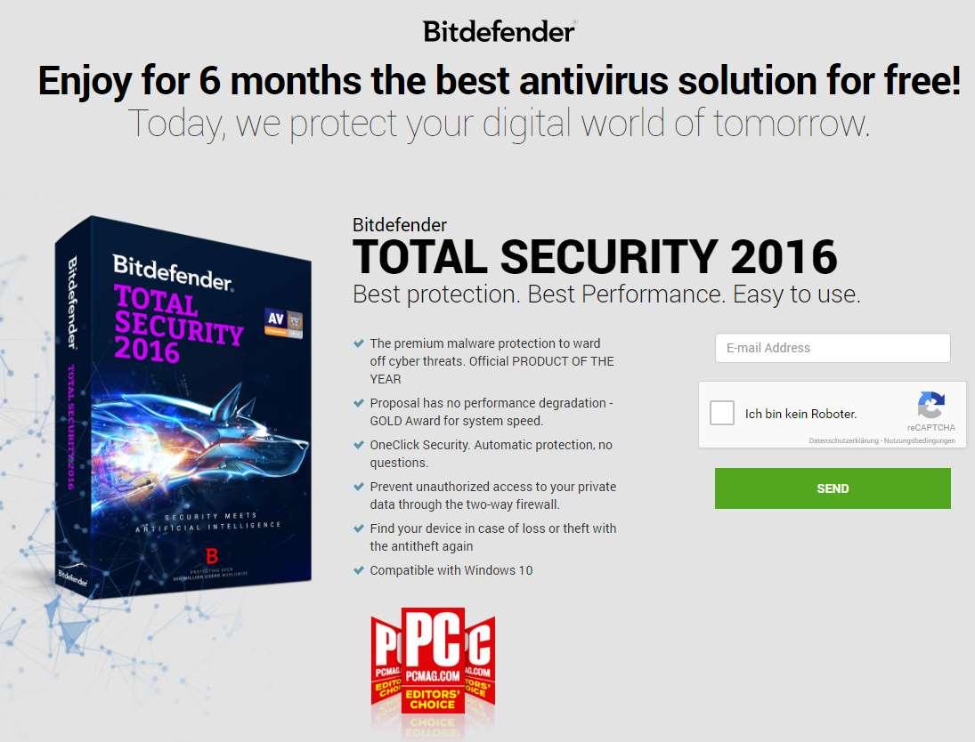 6 meses gratis de Bitdefender Total Security 2016 (se necesita IP alemana)