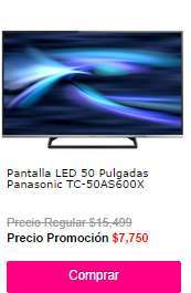 "Ofertas de Hot Sale México 2014 en Liverpool: LED Smart TV Panasonic de 50"": $7,750"