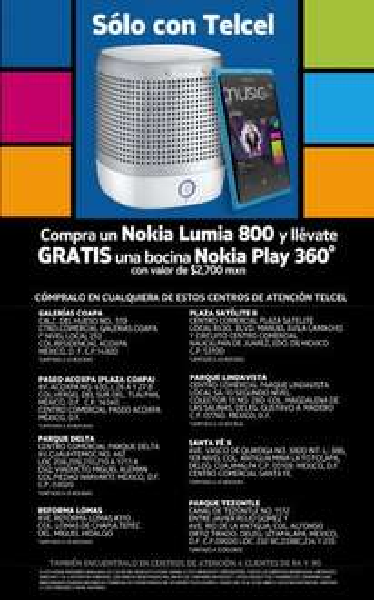 Telcel: bocina Play gratis en la compra de un Nokia Lumia 800