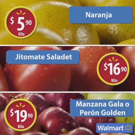 Walmart: Martes de Frescura 25 Octubre: Naranja $5.90 kg; Jitomate Saladet $16.90 kg; Manzana Gala o Perón Golden $19.90 kg y carnes
