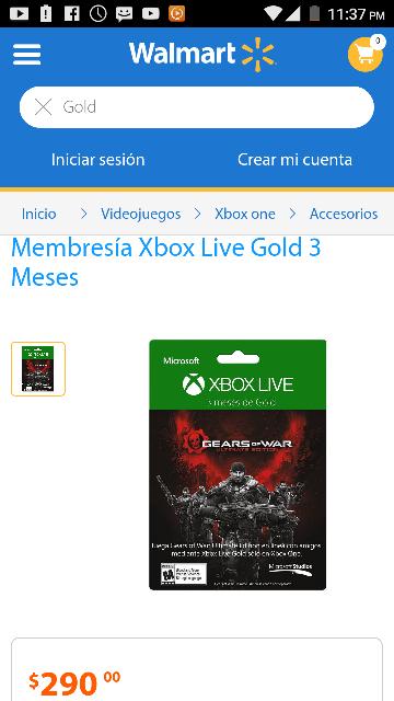 Walmart: Membresía Xbox Live Gold 3 Meses para xbox, 360/ xbox one