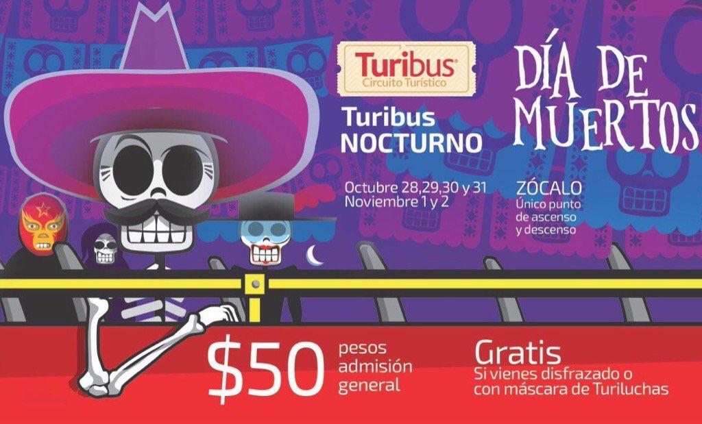 Turibus CDMX: Recorrido nocturno gratis en turibus si asistes disfrazado
