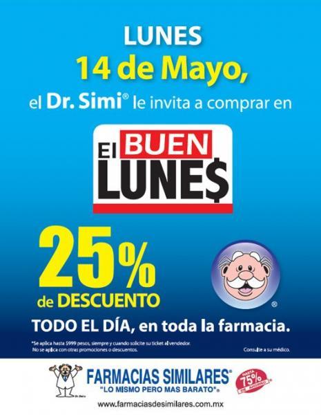 Farmacias Similares: 25% de descuento este lunes