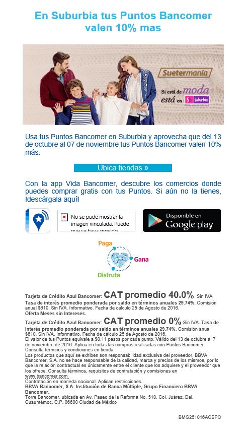 Suburbia: tus Puntos Bancomer valen 10% más