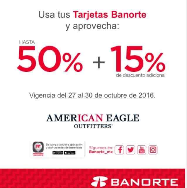 American Eagle: hasta 50% + 15% con tarjeta de crédito Banorte