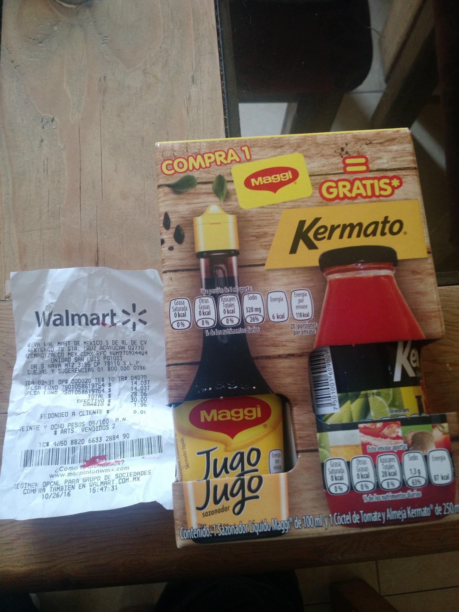 Walmart SLP: Jugo Maggi 100ml + Kermato 250ml a $14.03