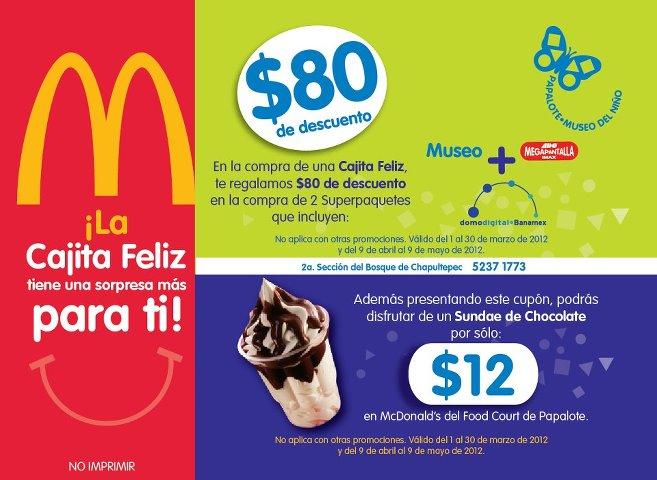 Papalote Museo del niño: $80 de descuento al llevar ticket de Cajita Feliz de McDonald's y más