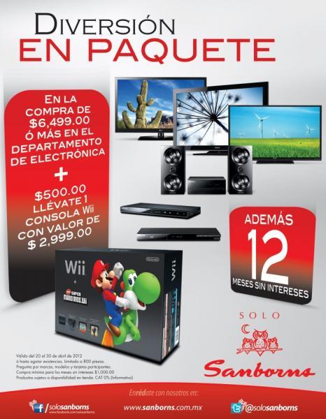 Sanborns: consola Wii a $500 al comprar $6,499 o más en electrónicos