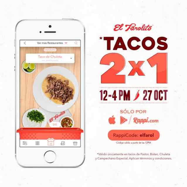 Rappi: TACOOOOOOOOOOOOS 2X1 (Tacos el Farolito)