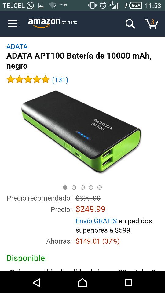 Amazon: ADATA Batería de 10000 mAh, negro APT100