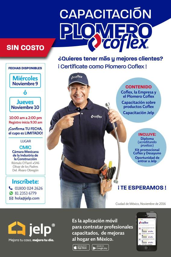 Gratis ¿Quieres tener más y mejores clientes? ¡Certifícate como Plomero Coflex!