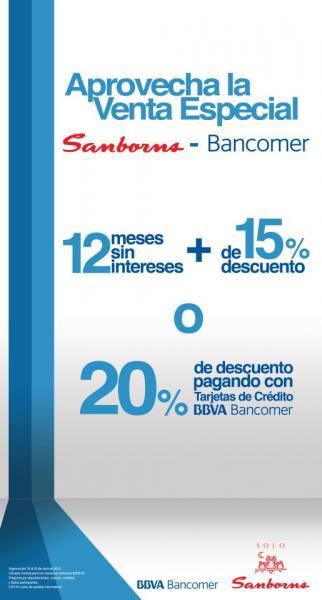 Sanborns: 12 MSI y 15% de descuento o 20% con tarjetas Bancomer