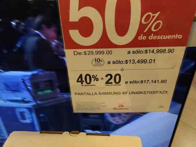 Sanborns Galerías Torreón: Pantalla Samsung UN49KS7000 ($13499.01 con crédito Sanborns)