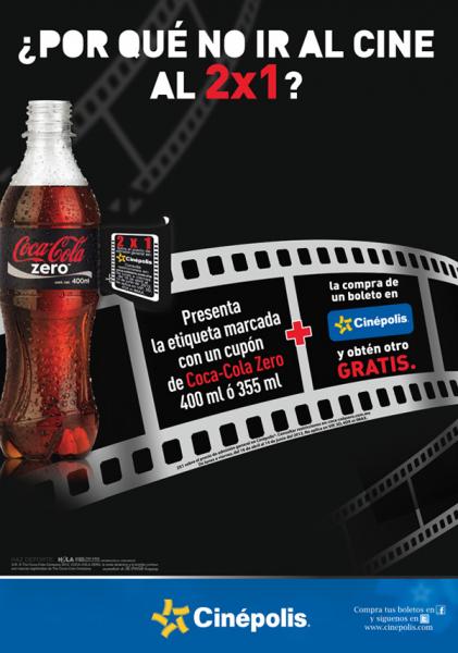 Cinépolis: 2x1 al llevar etiqueta marcada de Coca Cola Zero