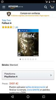 Amazon Mx: Fallout 4 PS4 $407