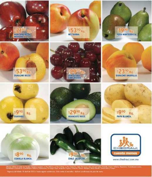 Miércoles de frutas y verduras Chedraui abril 18: toronja $3.90 Kg, cilantro $1.50 la pieza y más
