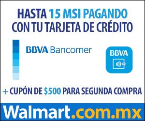Walmart: $500 de bonificación con Bancomer (>$5,000) y envío gratis en DF