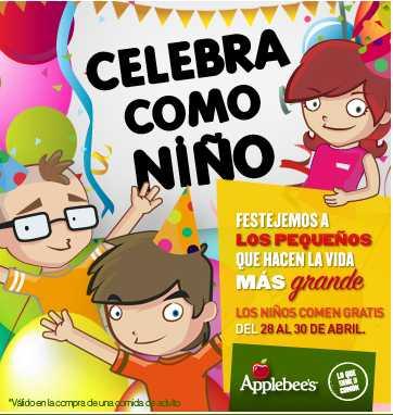 Applebee's: niños comen gratis del 28 al 30 de abril