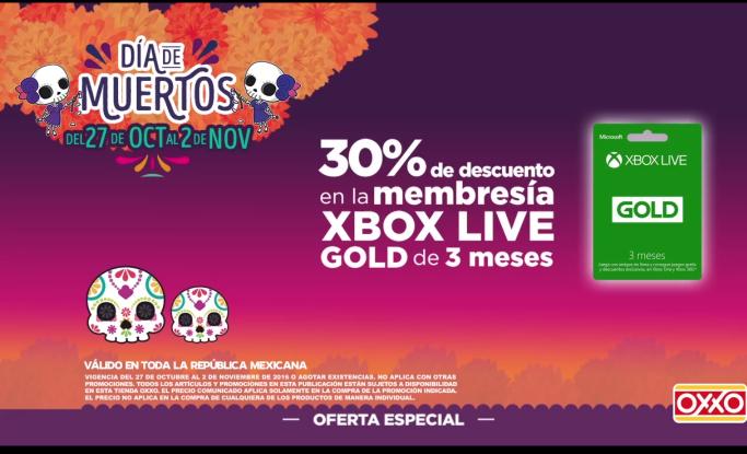 Oxxo: 30% de descuento en membresia Xbox Live de 3 meses
