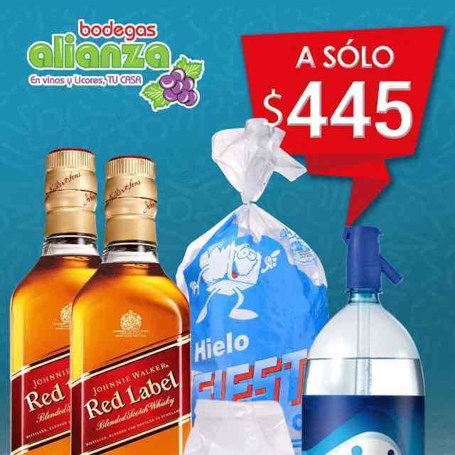Bodegas Alianza: oferton de whisky 2 Red Label, papas, agua mineral y vasos
