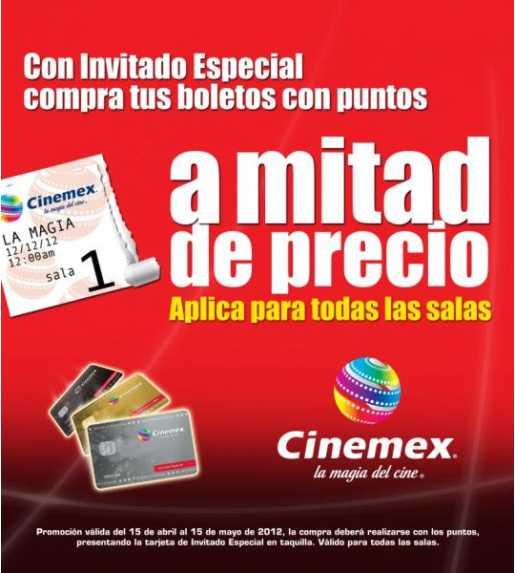 Cinemex: boletos a mitad de precio con tarjeta de invitado especial (con puntos)