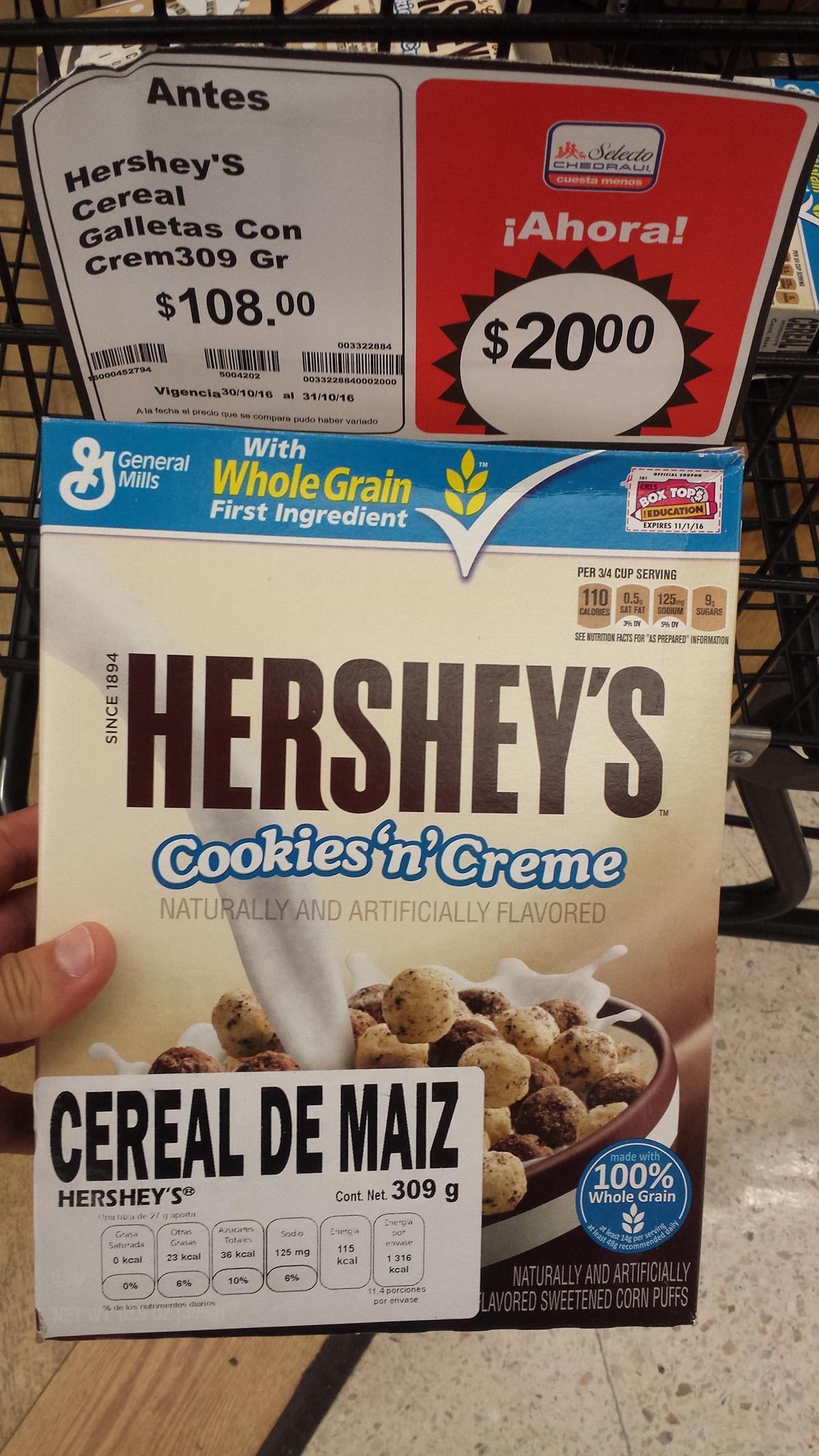 Chedraui: Hershey,s! cereal galleta con crema a $20