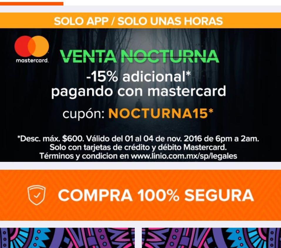 Linio: Venta Nocturna, 15% de descuento con Mastercard -solo en la APP-