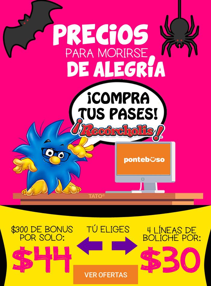 Pontebuso: $300 de bonus en Recorcholis por $44 y/o 4 lineas por pareja boliche Recorcholis x $30
