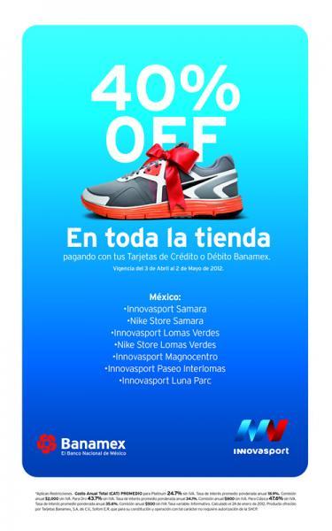 Innova Sport y Nike Store: 40% de descuento pagando con Banamex