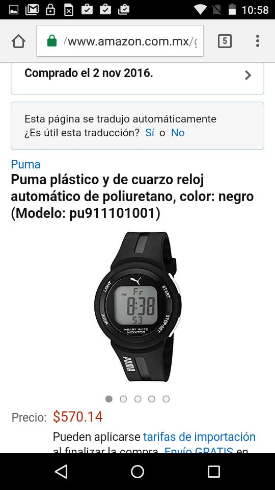 Amazon: reloj Puma digital pu911101001 a $571