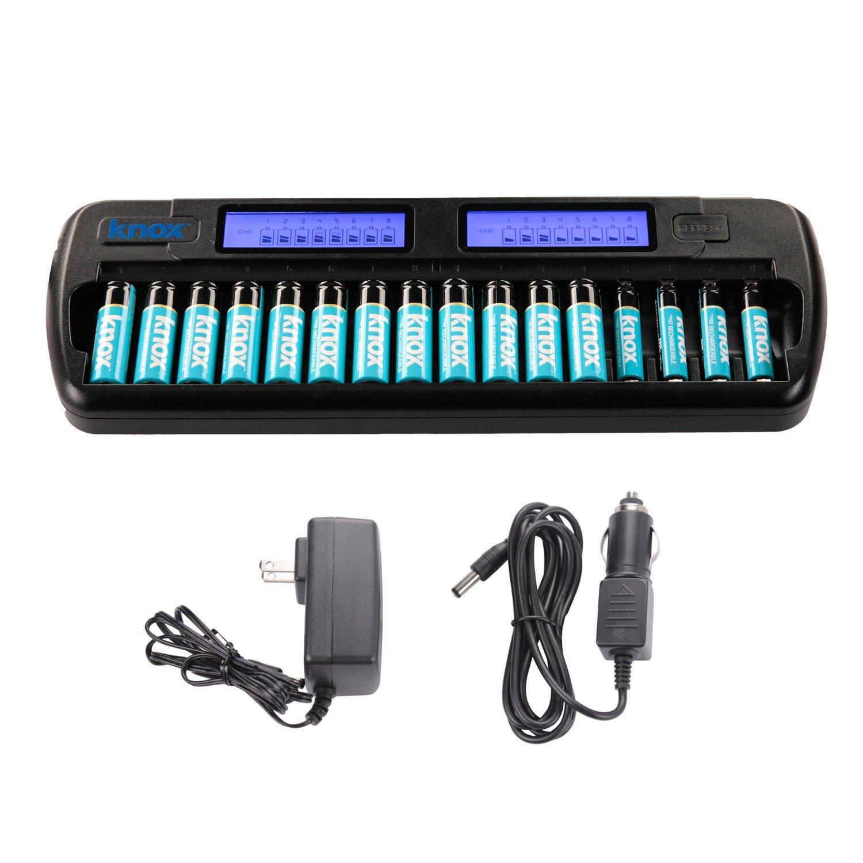 Amazon: cargador rápido de baterías NI-MH de 16 bahías, incluye 12 AA y 4 AAA