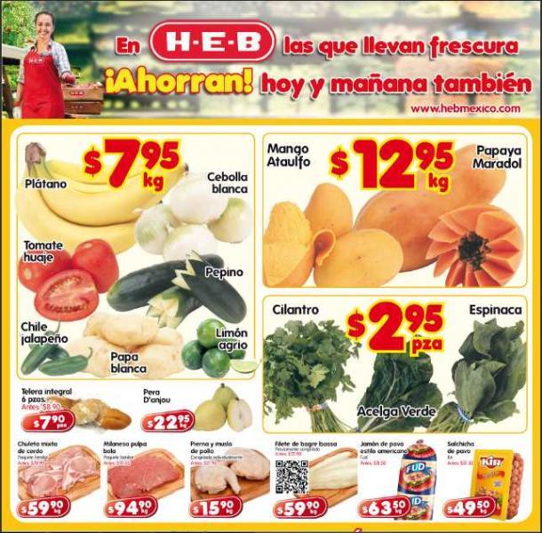 Frutas y verduras HEB: mango $12.95 Kg, espinaca $2.95 pza y  más