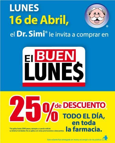 Farmacias Similares: 25% de descuento el lunes 16 de abril (republicación)