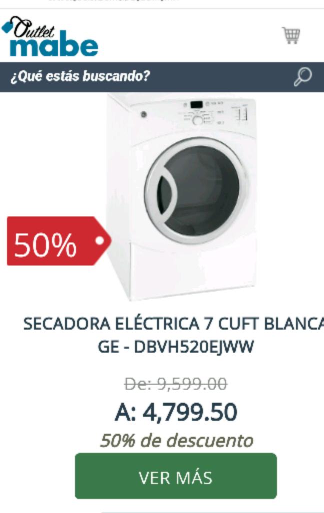 Outlet Mabe en línea: Secadora eléctrica 7 cuft Blanca GE - DBVH520EJWW a $4,799 y más