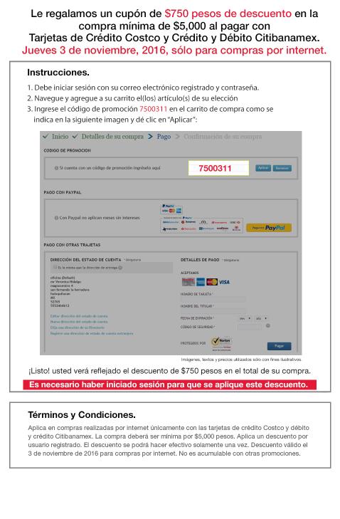 Costco en línea: $750 de descuento en compras mínimas de $5,000 con TDC Costco y Citibanamex