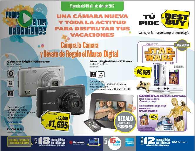 Folleto Best Buy abril 5: 20% de descuento en videocámaras Panasonic, gratis marco en la compra de cámara y más