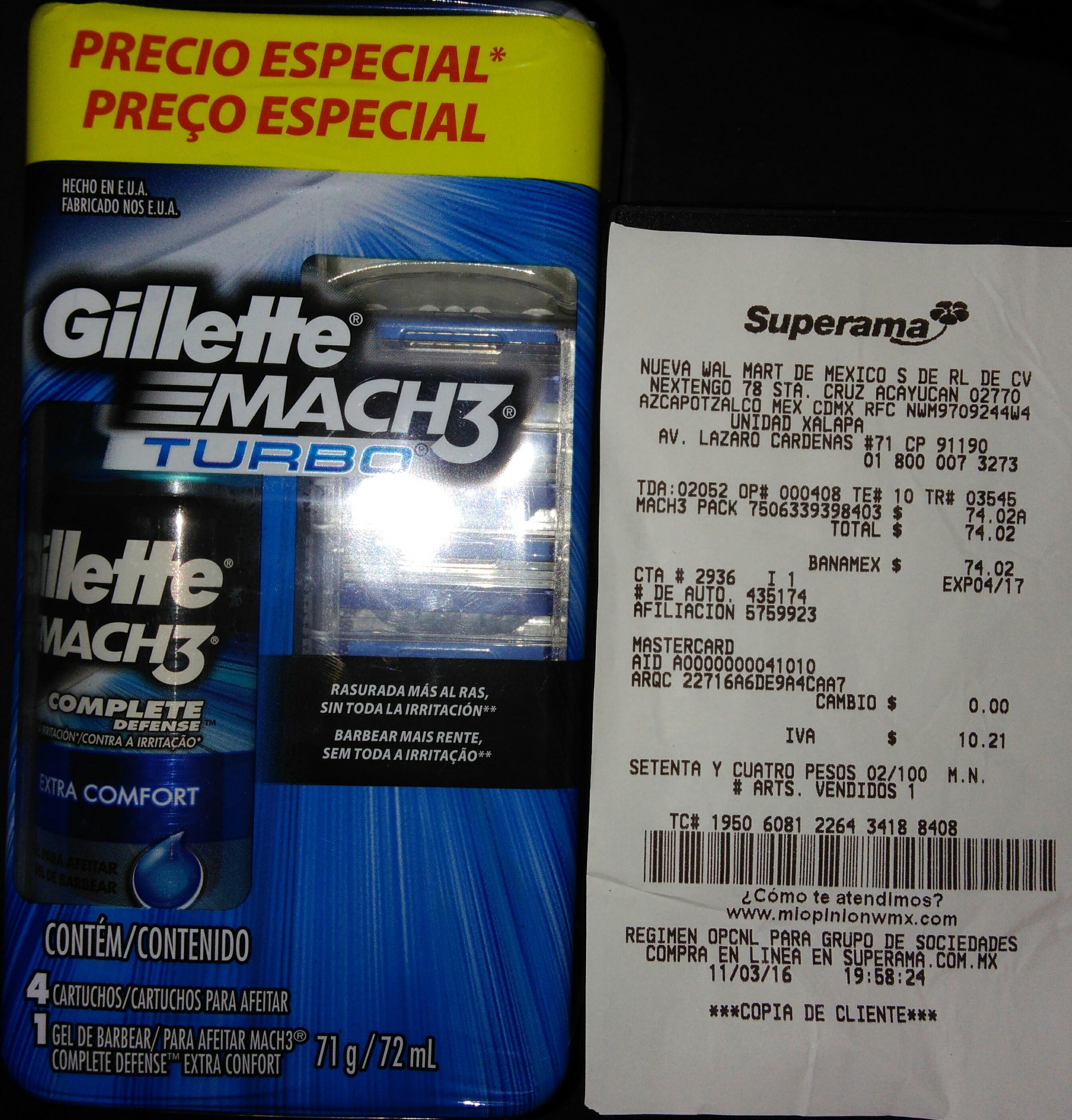 Superama Xalapa Pack de 4 cartuchos Gillette Mach3 + Gel para afeitar en segunda liquidación