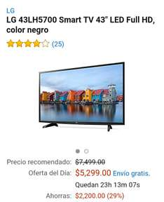 Amazon MX: Television LG 43 pulgadas 43LH5700 Smart Tv a $5299