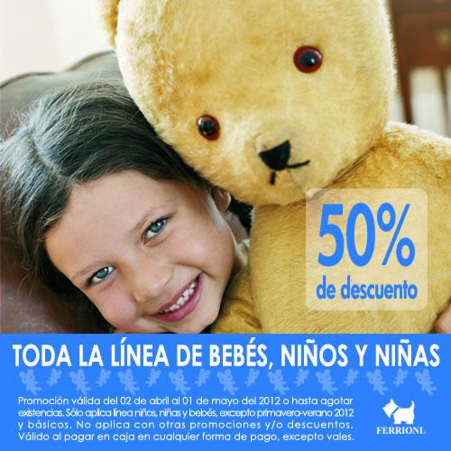 Ferrioni: 50% de descuento en toda la ropa de bebé, niños y niñas