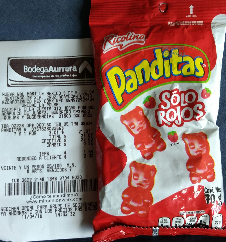 Bodega Aurrerá: panditas rojos a $3.01