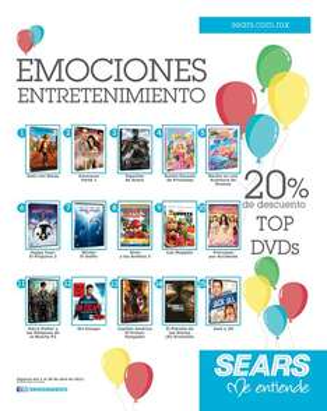 Sears: 20% de descuento en DVDs seleccionados