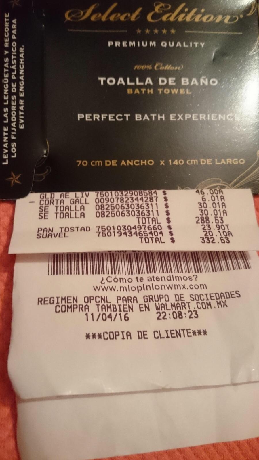 Walmart Rosario: Toalla de baño