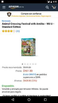Amazon México : Animal Crossing Festival Wii U $161