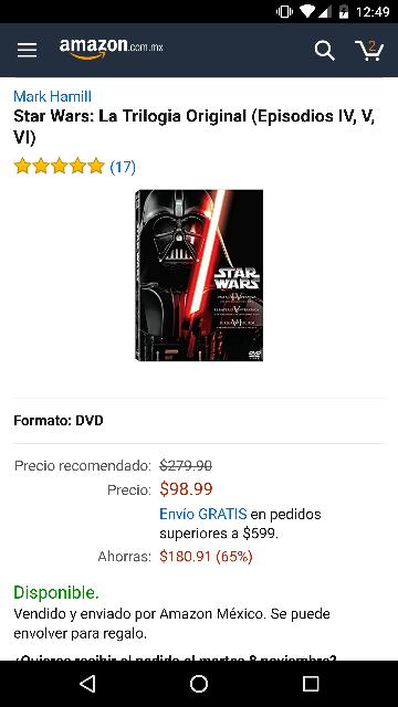 Amazon: Star wars la primera trilogía episodios IV, V y VI en dvd por solo $99