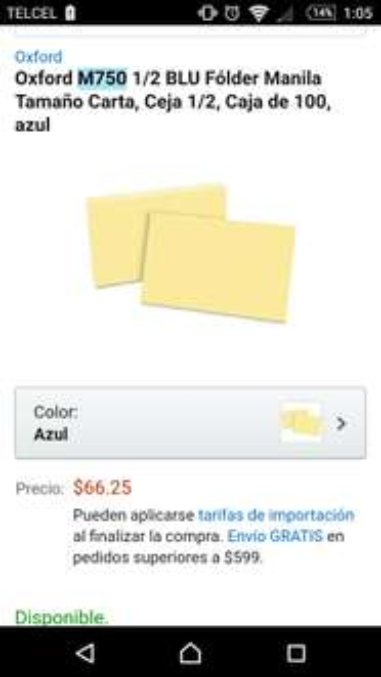 Amazon: Paquete de 100 tarjetas de papel manila Oxford a $66.25