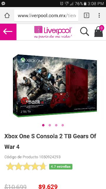 Liverpool: Xbox One S GOW (se envía cuando haya disponibilidad)