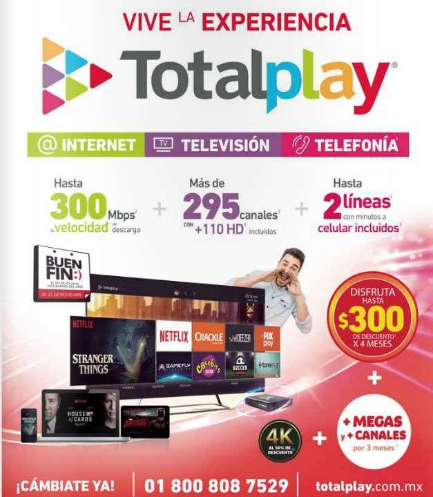 Promociones del Buen Fin 2016 en Totalplay: descuento, más velocidad y canales por primeros meses